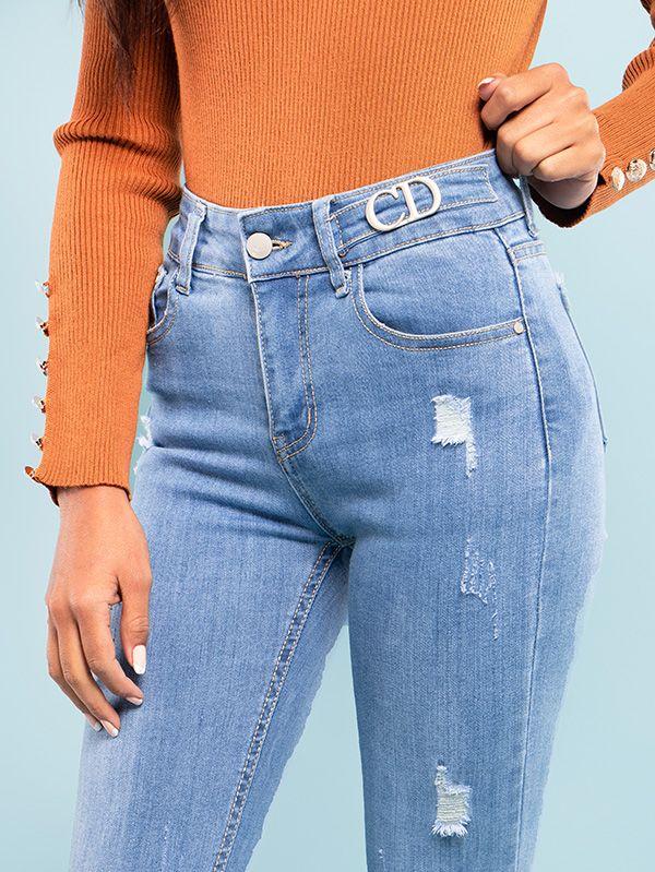 Jean stretch de tiro alto para mujer con letras decorativas 6259