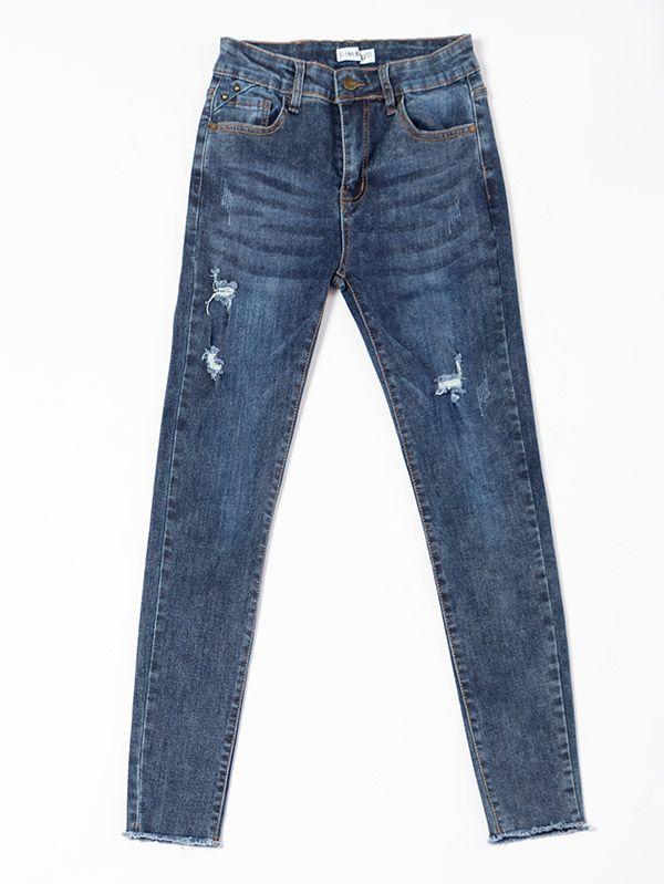 Jean desgastado para Mujer tiro alto tipo stretch 6233